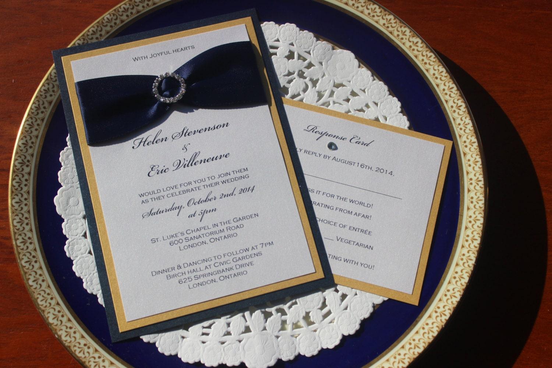 Navy Blue And Gold Wedding Invitations: Navy Blue And Gold Wedding Invitations The Helen