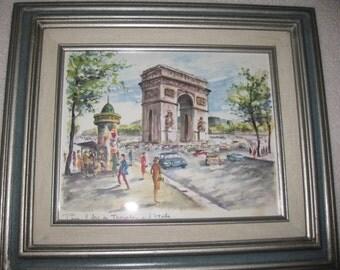 """PARIS L' ARC DE Triomphe D L'Etoile Framed Mid Century Arno Print Hecho En Mexico Frame Measures 13"""" x 15"""""""