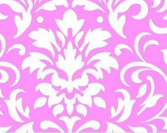 White on Pink Damask Fabric --- Damask Fabric --- Fabric By The Yard