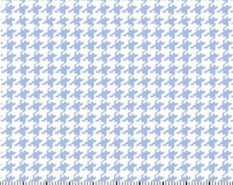 Light Blue Houndstooth Fabric --- 100% Cotton --- Fabric By The Yard