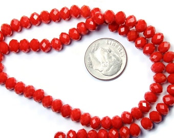 Opaque Red Rondelle Glass Beads 6x8mm - 40 QTY