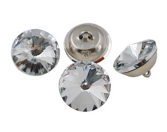 "Decotacks  1""  Size Crystal Rhinestone Upholstery  Buttons with Metal Loop 24pk   [Ship from US]"