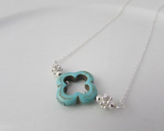 Clover Necklace, Turquoise Necklace, UK Seller, Gifts for Girls, Bridesmaid Gifts, Bridesmaid Necklace, BFF Gifts, Shamrock Necklace