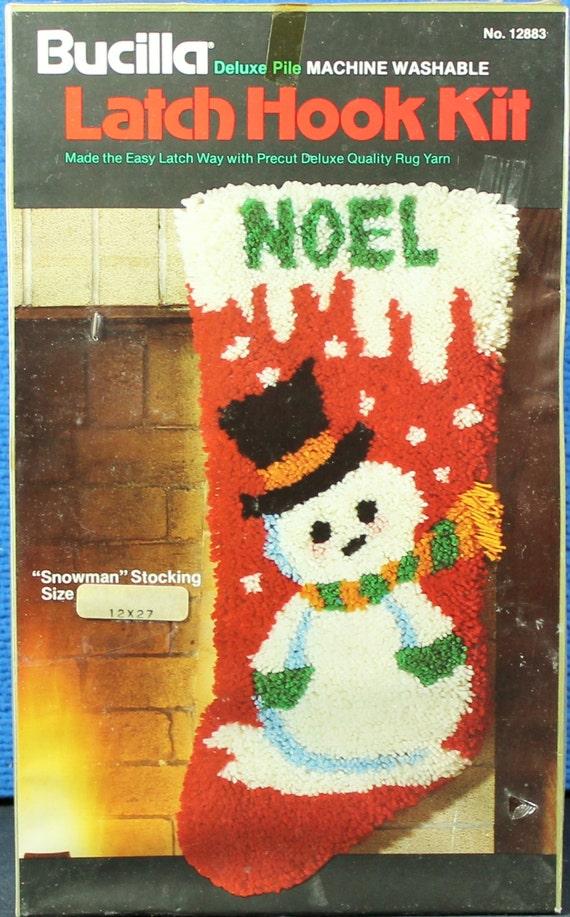 Bucilla latch hook kit snowman stocking by thisandthatbyjenny