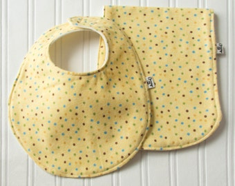 "Bib & Burp Cloth Set, Flannel and Fleece , ""Get Spotted"", Yellow Polka-Dot with Ivory Backing, Baby Girl, Baby Gift, Baby Shower, Polka dot"