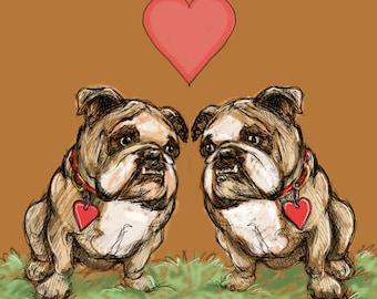 "Two Bulldogs Framed Print 16""x16"" Bulldogs Sitting Under a Heart"