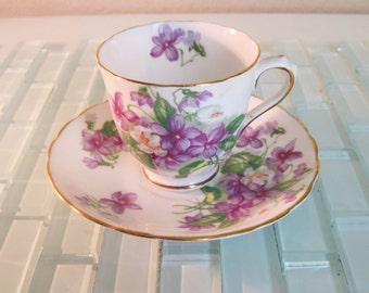 Tuscan Purple Demitasse Espresso Cup Saucer England