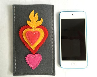 Heart on Fire Valentine iPhone Sleeve in Grey Wool Felt with Hot Pink, Yellow and Coral Red