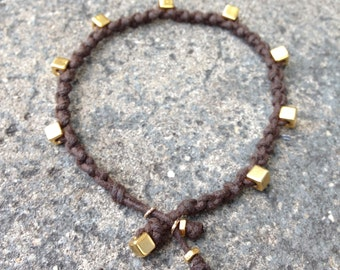 Bracelet Colo 09 Gold Cotton Cord Handmade - Brown (B109GD-CBN)