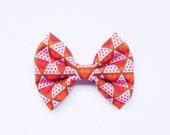 Retro Red Heart Fabric Bow on Hair Clip or Headband - Little Girl Hair Bow