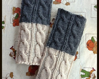 Clearance Sale!-100% Wool 2in1 Boot Cuffs,Grey/Oatmeal Color Hand crocheted,Knitted Boot cuffs, Boot socks, Leg Warmers, Boot Topper
