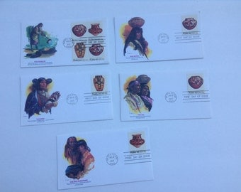 The Pueblos First Day Of Issue Envelopes with Stamps by Fleetwood 1977