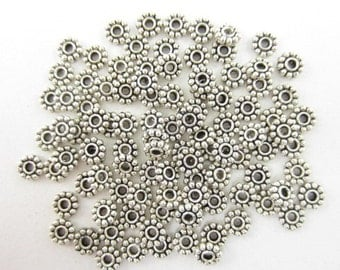 100pcs 4.5mm Daisy Spacers Silver Plated (F1750)