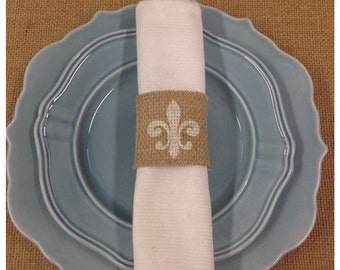 Burlap Napkin rings with a Fleur de lis on each one  - Set of 4, 6, 8, or 12 - Home decor Holiday decorating Wedding decor