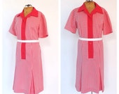 PLUS SIZE Vintage 1960s Hot Pink Gingham Channel 1 Bill Sims Kitsch Retro Shirt Dress Groovy Day Dress Scooter Dress Size Large 1970's Mod