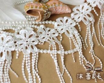 ivory bridal lace trim, crochet trim lace