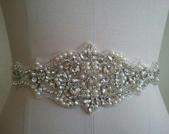 pearl and rhinestone applique for wedding sash, bridal belt, wedding headware