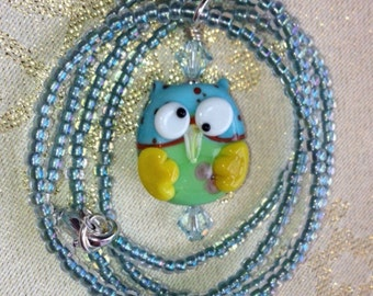 Blue & Green Owl Necklace