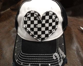 Checkered heart RACING mom hat