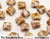 40pcs Travertine White Double Diagonal Hole Square Pressed Beads 6mm Silky Beads Dia