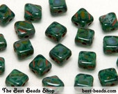 40pcs Travertine Green Double Diagonal Hole Square Pressed Beads 6mm Silky Beads Dia