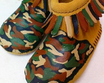 Custom Hand Painted Camo Camouflage Baby Moccasins