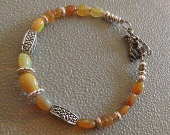 Ethiopian Honey Opals and Sterling Silver Bracelet