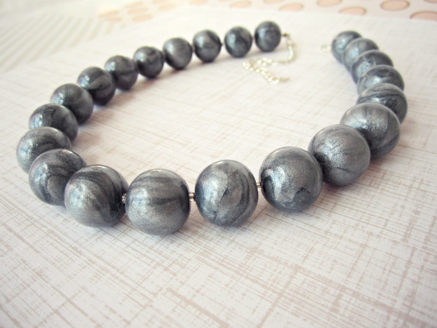 silver beaded necklace silver clay jewelry gray necklace