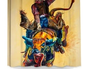 """Colorful Bull Rider Shower Curtain - """"Rodeo Wild"""" - Artwork by TeshiaArt"""