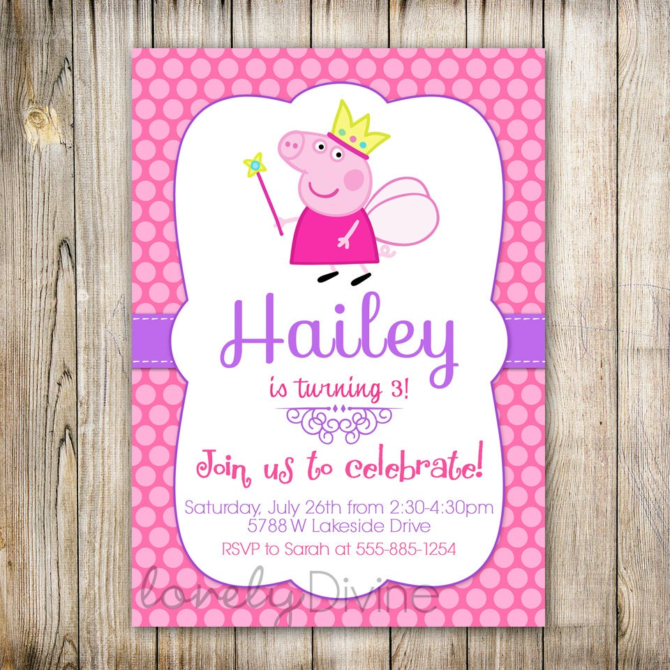 Peppa Pig Birthday Invites with great invitations example