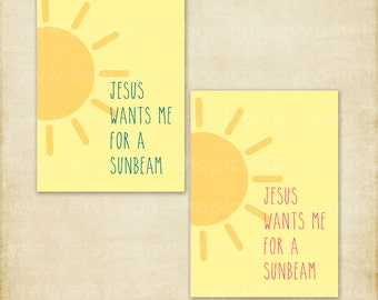 LDS Primary 5x7 Wall Art Jesus Wants Me For A Sunbeam LD5001