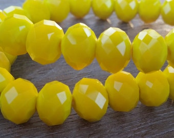 Crystal Faceted Rondell Beads, jewelry supplies, Yellow beads, qty.30 beads