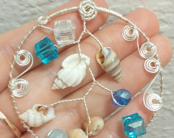 Sea shells Pendant Sterling silver chain wire wrapped pendant  fashion  jewelry Crystal jewelry pendant Sterling silver chain