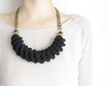 Black Rope necklace knot necklace