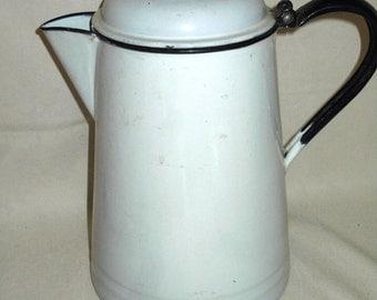 Vintage  Graniteware Coffee Pot White with Cobalt Blue Trim