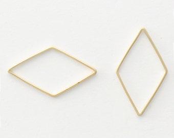 3306014 / Outline Diamond (Large) / 16k Matt Gold Plated Brass Pendant 13.5mm x 23.7mm / 0.3g / 4pcs