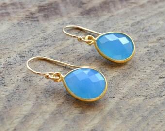 Blue Chalcedony Drop Earrings- Blue Chalcedony Gemstone Earrings- Blue Stone Earrings
