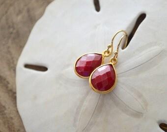 Dyed Ruby Drop Earrings- Red Stone Earrings- Gold Earrings- July Birthstone Earrings