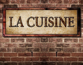 Fine Art, French  Language La CuisineThe Kitchen Decor For Your Home. 16 by 6 inches Mounted and Ready To Hang. Free Ship