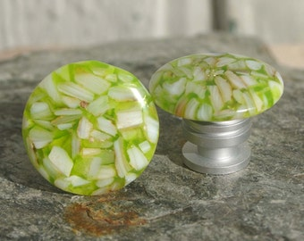 Knobs, Stone Knobs, Cabinet Knobs, Mother of Pearl and Lime Green Resin Cabinet Knobs -  kitchen, bathroom, South West