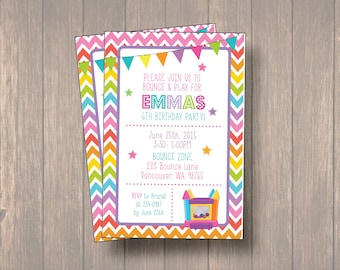 bounce house Birthday Invitation, bounce party, party invitation, ouncy house party, Matching Thank you card, Bounce House Kids Invitation