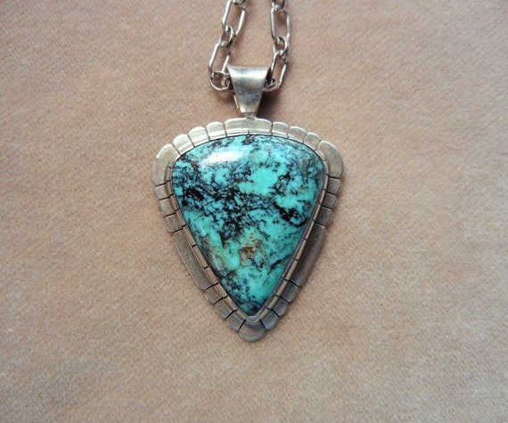 Vintage Native American Triangle Turquoise in Sterling Silver Pendant Necklace, Signed