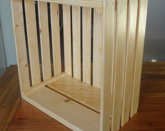 Wooden Crate- Natural Stain-Wall Hanging or Floor Display-Organization and Storage