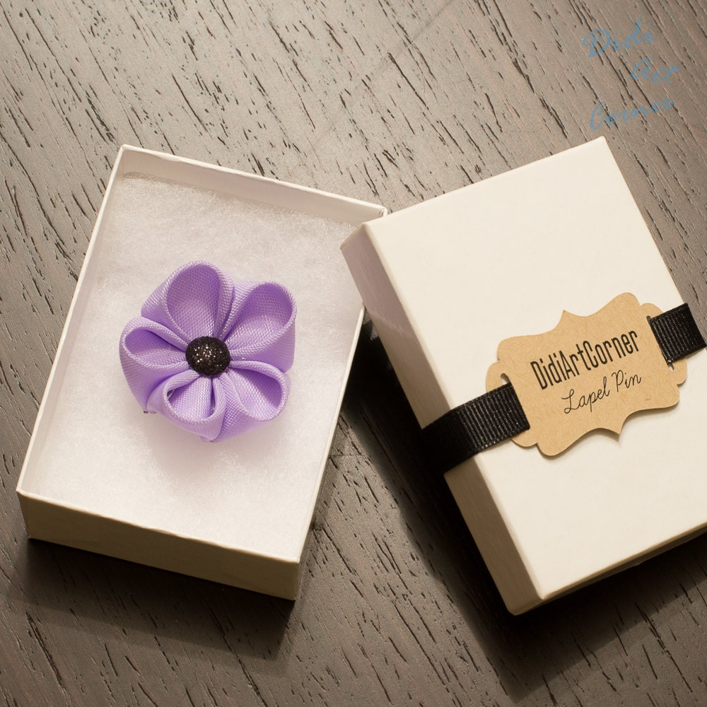 Stylish Beautiful Black Flower Lapel Pin: Purple Kanzashi Inspired Flower Lapel Pin With Black Sparkly