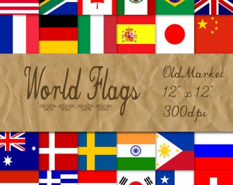 World Flags Digital Paper - Flags of the World Digital Backgrounds - 24 Designs - 12in x 12in - Commercial Use - INSTANT DOWNLOAD