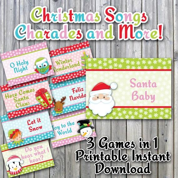 Christmas Charades Printable PDF - Christmas Song Version ...