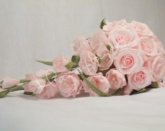 Bridal bouquet,wedding bouquet,paper flower,roses pink,bouquet paper flowers,roses paper flower,bridal flower,wedding flowers,bridal roses,