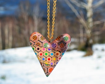 Colored pencils necklace - heart