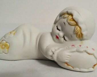 Baby Girl Sleeping Figurine Shower Cake Topper Nursery Decor  ~ PPT