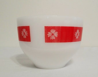 Federal Glass Mixing Bowl Red Gingham Milk Glass ~ PPT